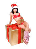 Mrs. Claus with gift box ..