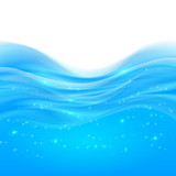 Blue realistic water smooth shining background