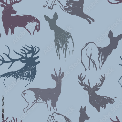 Deer and doe / Winter seamless background