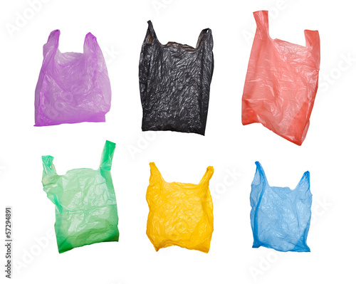 Leinwanddruck Bild collection of various plastic bags isolated on white background