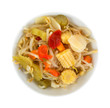Top view of a bowl filled with oriental vegetables