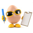 Egg with clipboard and pencil