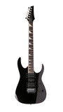 Full size black electric guitar