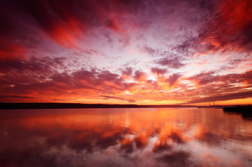majestic sunset over water