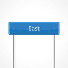 Blue east traffic sign