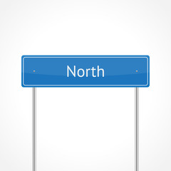Blue north traffic sign