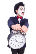Funny man with clock on white