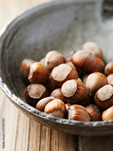 Hazelnuts in an old ceramic dish