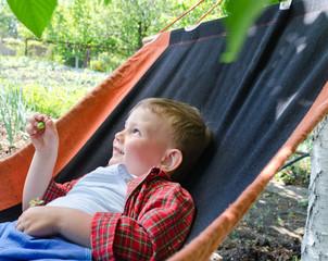 Happy small boy relaxing in a hammock