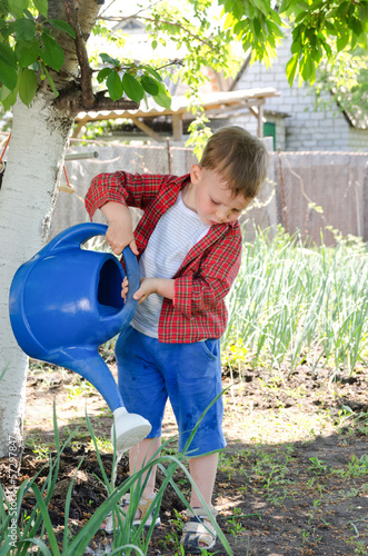 Little boy watering the vegetables