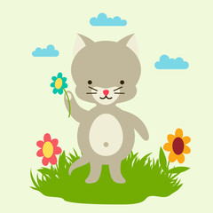 Little cute baby cat picking flowers.