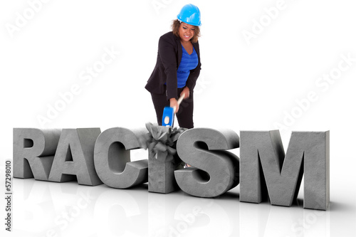 African American woman wearing a protection helmet braking a 3d