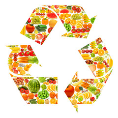 Recycle symbol made from various fruits and vegetables
