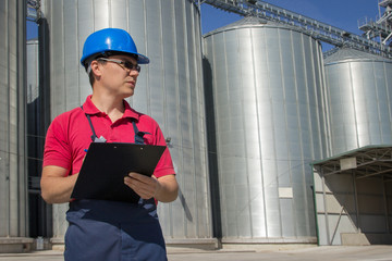 Worker at the silo copany