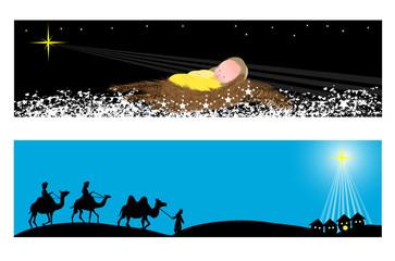Christmas Banners -Wisemen and baby jesus