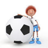 3d boy football player.