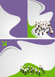 Green and purple template with business people