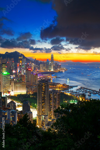 office building at sunset in hong kong