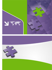 green and purple template with puzzle pieces