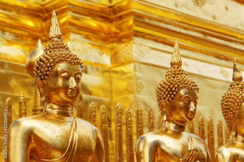 Gold face of Buddha statue in Doi Suthep temple, Chiang Mai, Tha
