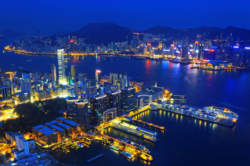 Aerial view of Hong Kong harbor from Kowloon island