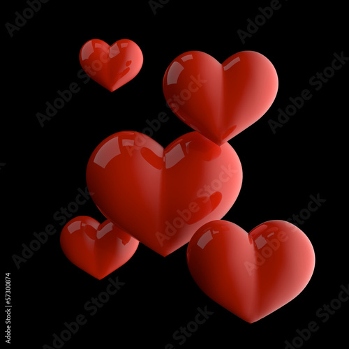 3d illustration of five red glossy hearts