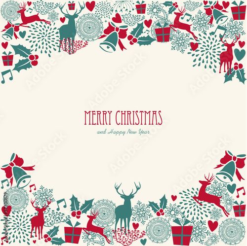 Merry Christmas text, vintage elements vector file.