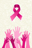 Breast cancer awareness ribbon women hands vector file.