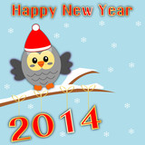 Happy new year 2014 background with owl and snow