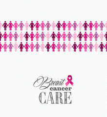 Breast cancer awareness ribbon women figures vector file.