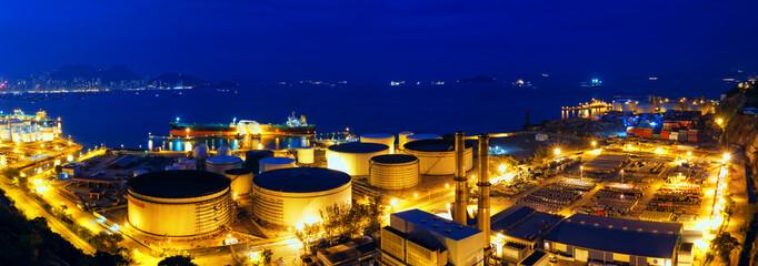 Oil tanks at night , hongkong