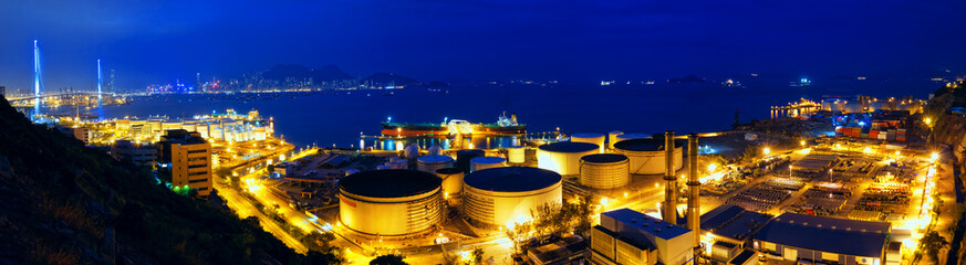 Oil tanks at night , hongkong