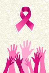 Breast cancer awareness ribbon women hands vector file.