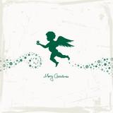Angel Holding Star & Stars Beige/Green Scratches