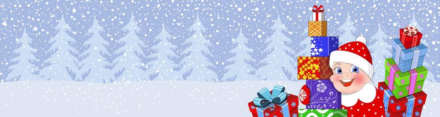 Новогодний баннер.Мальчик с подарками