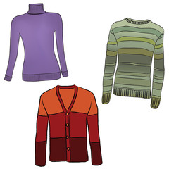 Warm winter female cloth set. Fashion sweater collection.
