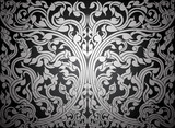 Asian art shaped olden pattern silver color background