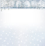 Fototapety Vector of winter scene with forest background.