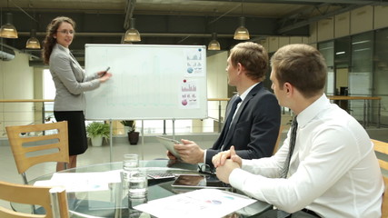 Businesswoman explaining marketing analysis to her colleagues