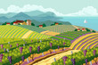 Rural landscape with vineyard - 57303476