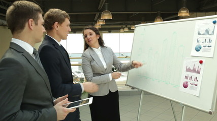 Businesswoman explaining something to her colleagues