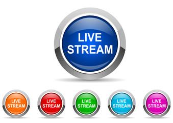 live stream icon vector set