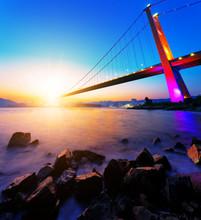 Coucher de soleil sur le pont Tsing Ma