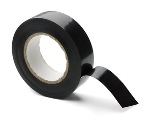 Roll of black plastic adhesive tape