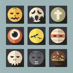 Halloween flat icons, vector