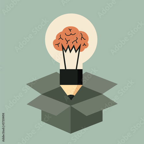 Think out of the box concept, idea light bulb with brain