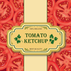 Tomato label. Sliced tomato vintage background