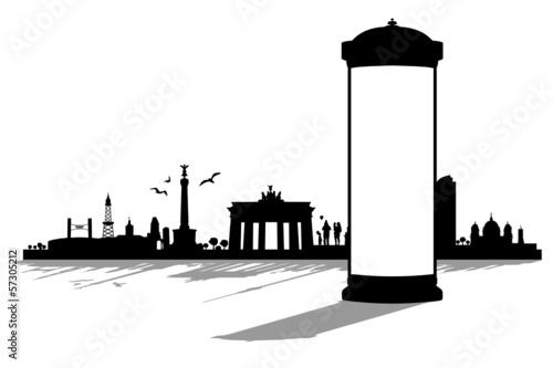 Berlin Skyline mit Litfaßsäule