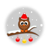 Winter cartoon Owl in santa hat