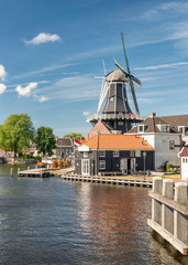 View in Haarlem, Netherlands with windmill